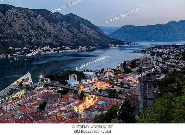 Waterfront at dusk, Kotor, Dalmatia, Montenegro