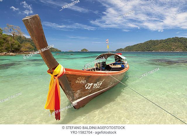 Longtail Boat at monkey beach on Ko Rawi island, , Tarutao Marine National Park, Thailand
