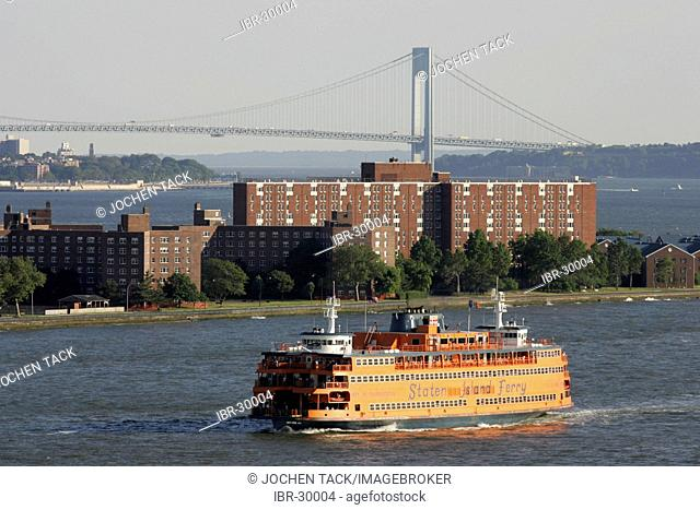 USA, United States of America, New York City: Governors Island, Fort Jay and Castle Williams in the East River. Verrazzano Bridge, Staten Island Ferry