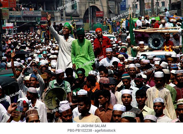 A rally is brought out on the occasion of Eid-e-Miladunnabi and roamed around the Chittagong city Thousands of people attended this Jasne Jalus procession...