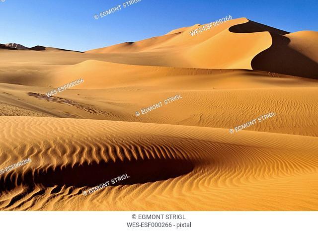 Algeria, Sahara, View of sand dunes Erg Mehedjibat
