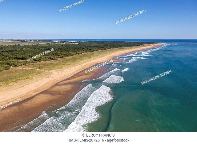 France, Vendee, Longeville sur Mer, La Terrière beach and Longeville state owned forest (aerial view)
