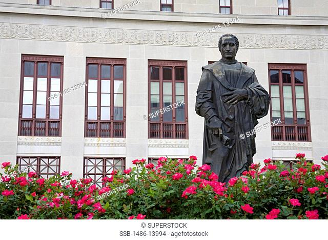 Columbus' statue outside a government building, Columbus City Hall, Columbus, Ohio, USA