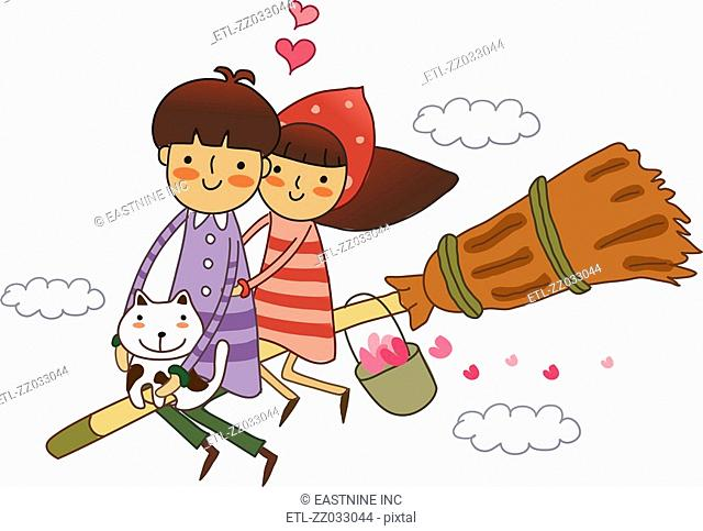 Couple sitting on a broom and flying