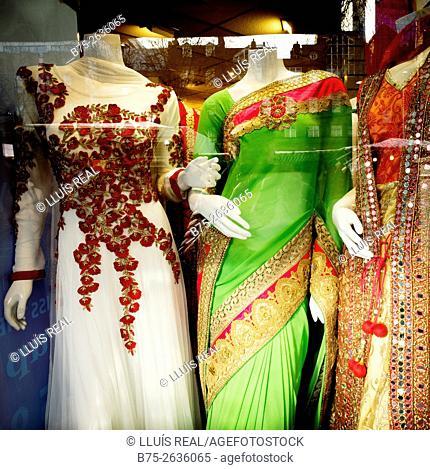 Closeup of an indian fashion shop window in Whitechapel Road Market. Whitechapel, Tower Hamlets, East London, London, England, UK