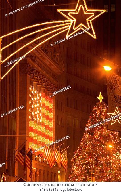 Christmas tree wall  Street stock exchange  Downtown Manhattan . New York. USA