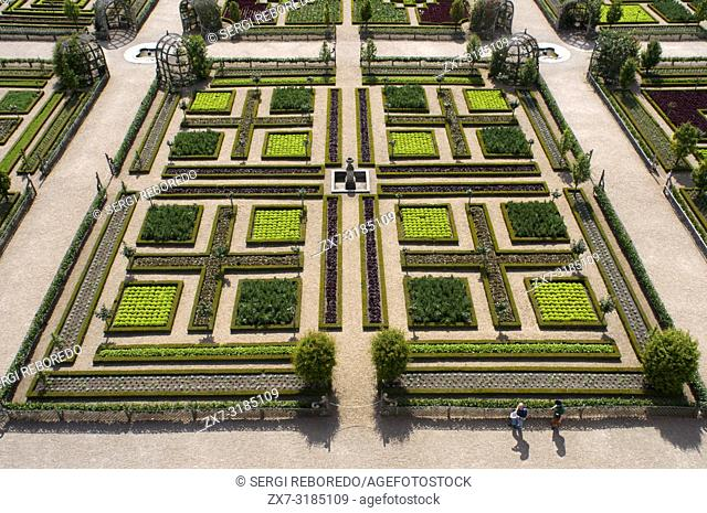 The castle and the gardens of Villandry, Loire Valley, France. The beautiful castle and gardens at Villandry, UNESCO World Heritage Site, Indre et Loire, Centre