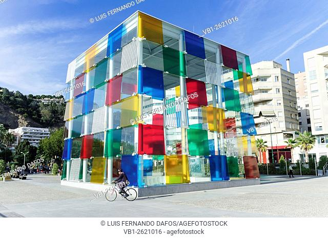 Malaga, Spain. Centre Pompidou Málaga. Glass-and-steel structure called The Cube (El Cubo)