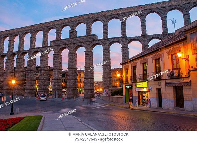 Roman aqueduct, night view. Segovia, Castilla Leon, Spain