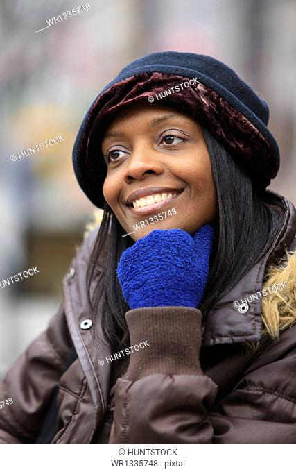 Portrait of a woman smiling, Boston, Suffolk County, Massachusetts, USA