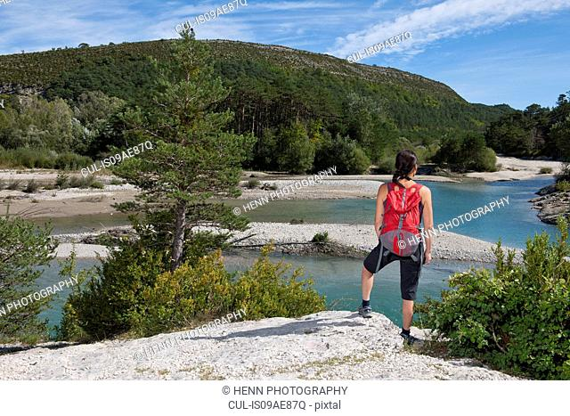 Female hiker admiring view, Canyon du Verdon, Provence, France