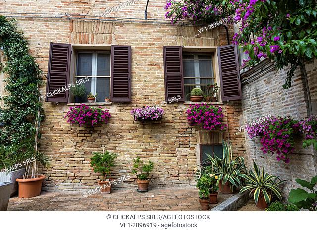 Details and typical architecture of houses of the old town of Corinaldo Province of Ancona Marche Italy Europe