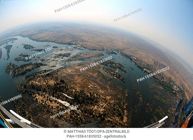 The headwaters of the Zambezi River before the Victoria Falls, pictured on 30.07.2015. The Victoria Falls are the broad waterfalls of the Zambezi at the border...