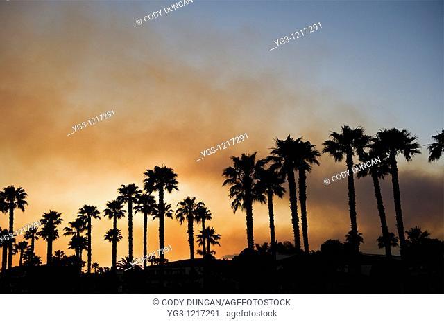 Santa Barbara, California - Smoke from Jesusita fire fills sky at sunset as seen from Cabrillo Blvd  Tuesday May 5, 2009