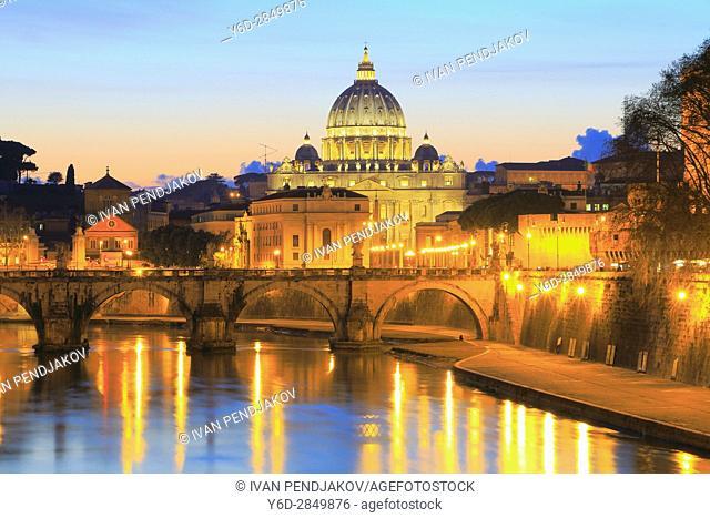 St Peter's Basilica and the Tiber at Sunset, Rome, Italy