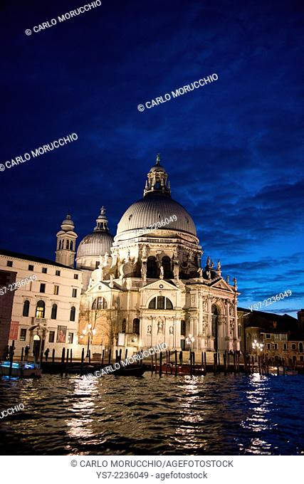 Santa Maria della Salute church at dusk, Grand Canal, Venice, Italy, Europe