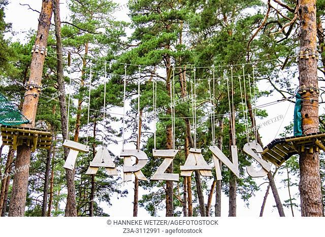 """The Tarzan Leap at """"""""JŠ«rmalas TarzÄ. ns"""""""" adventure park - now open in the Dzintari Forest Park, Latvia, Europe. The """"""""JŠ«rmalas TarzÄ"""
