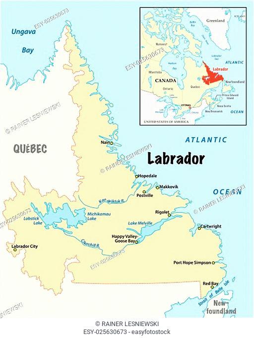 simple vector map of Labrador, Canada