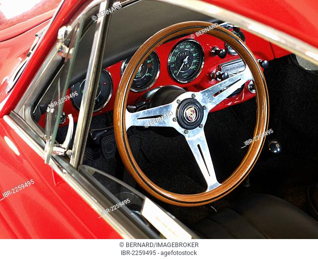 Cockpit of a classic Porsche 356 car