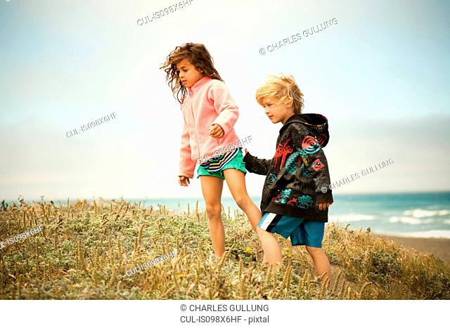 Two children walking along coast