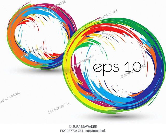Vector colorful circle brush paint List design element