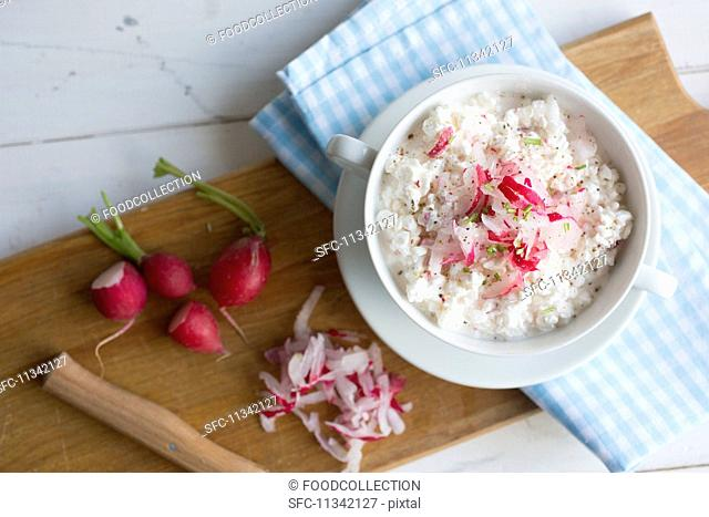 Cream cheese with radishes