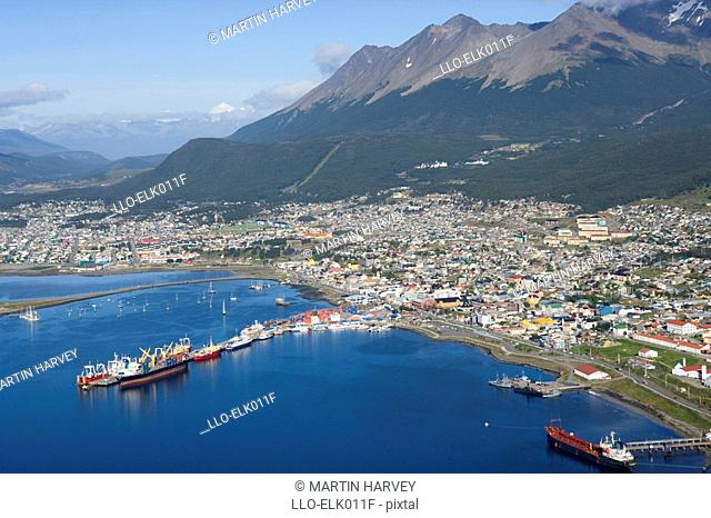 Aerial View of Ushuaia  Tierra del Fuego, Patagonia, Argentina, South America