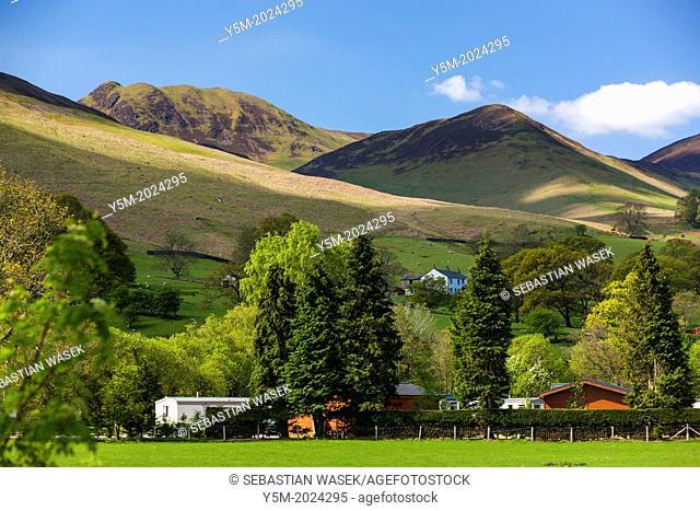 View towards Braithwaite Village, Lake District National Park, Cumbria, England, UK, Europe