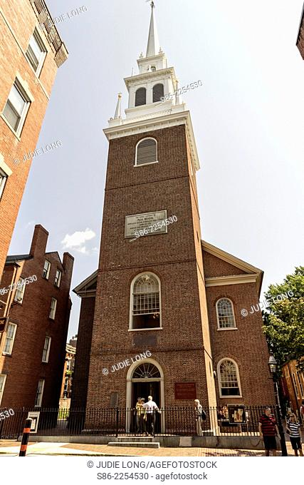 People Entering the Old North Church, Front Steeple Entrance, Boston, MA. A church dating back to the American Revolution