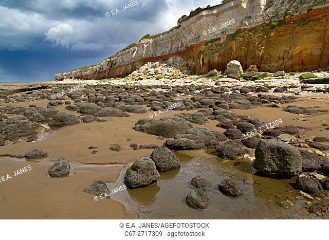 Hunstanton Cliffs at low tide West Norfolk in Spring