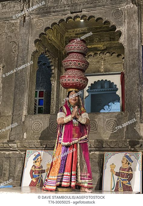 Famed Bhavai dance, celebrating women's efforts to carry water in the desert, Udaipur, Rajasthan, India