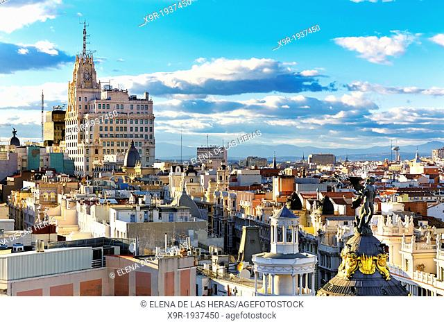 Metropolis building statue and Telefonica building. Madrid. Spain