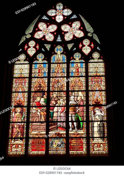 Stained glass in the St. Michael and St. Gudula Cathedral of Bruxelles (Belgium)