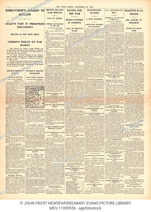 1939 The Times page 8 German foreign minister Ribbentrop flies to Moscow. 29th September 1939 issue