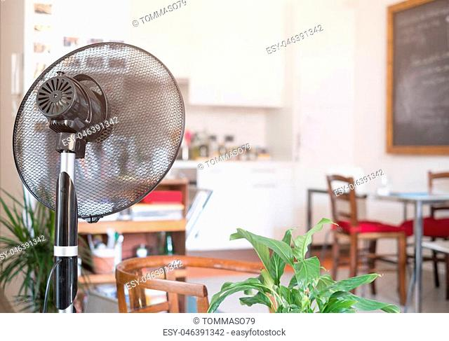 Cooling fan refreshing home room for summer heat