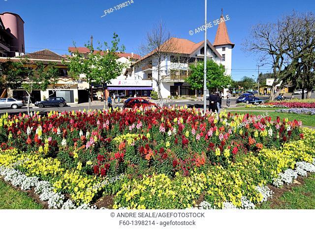 Main square with flower gardens, Nova Petropolis, Rio Grande do Sul, Brazil