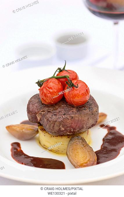 Beef steak, served in a fine dining restaurant