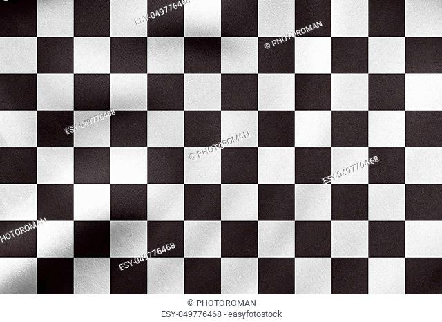 Checkered racing flag. Symbolic design of end of car race. Black and white background. Checkered flag waving in the wind, real detailed fabric texture