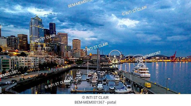 Seattle city skyline at dusk, Washington, United States