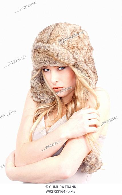 adult, attractive, background, beautiful, beauty, Caucasian, cold, cute, expression, face, fashion, female, fur, girl, hat, isolated, lips, makeup, model