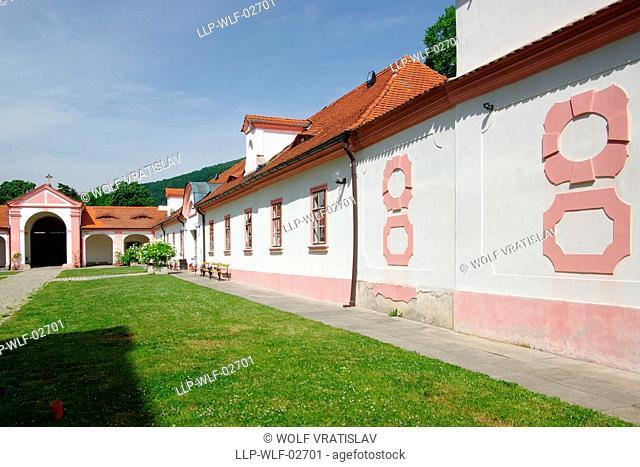 Courtyard of Osek Monastery, Usti nad Labem Region, Czech Republic