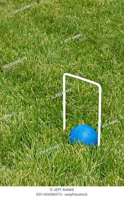 croquet ball sitting under a hoop