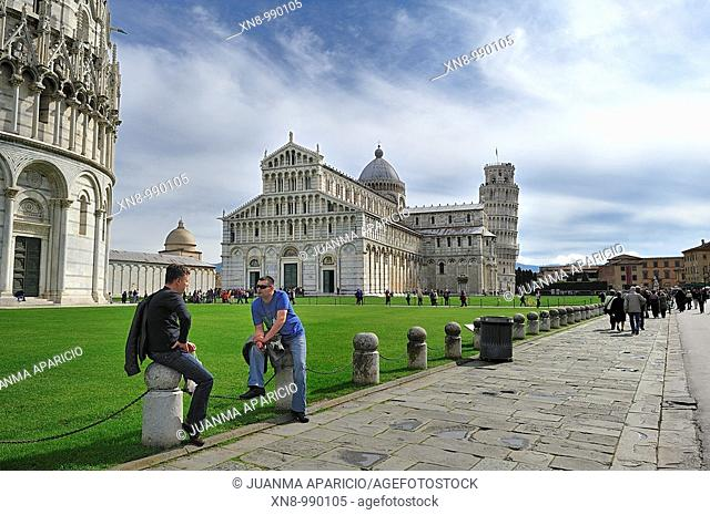 Tourists in the Piazza dei Miracoli, Pisa, Italy