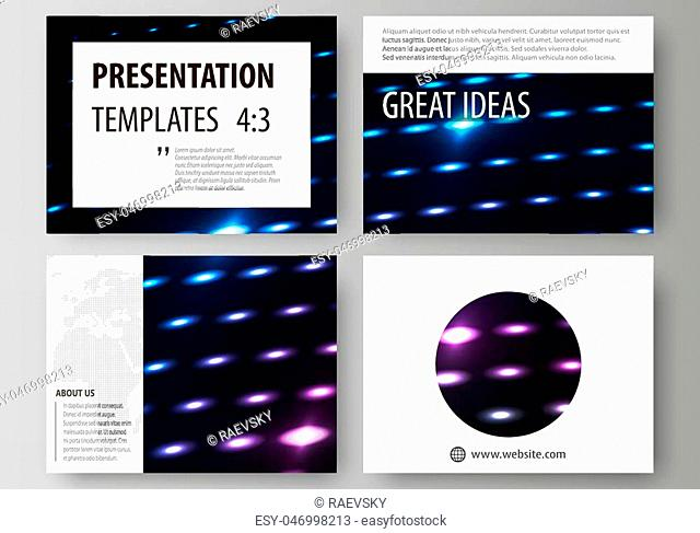 Set of business templates for presentation slides. Easy editable abstract vector layouts in flat design. Abstract colorful neon dots