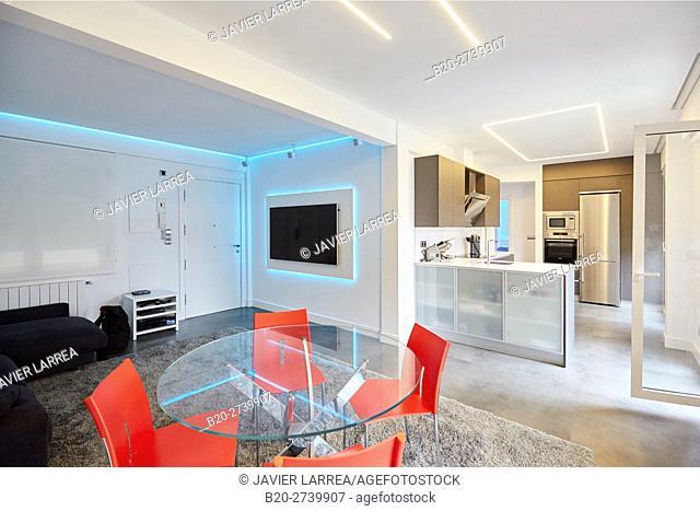 Living room, Home, Donostia, San Sebastian, Basque Country, Spain