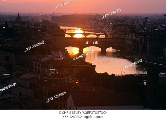 Sunset over the Arno river with bridges, Florence, Tuscany, Italy