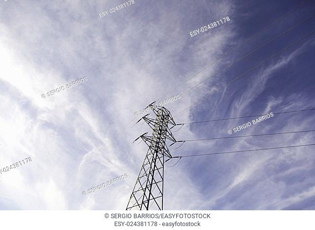 Electricity pylon metal detail transport of energy, environment