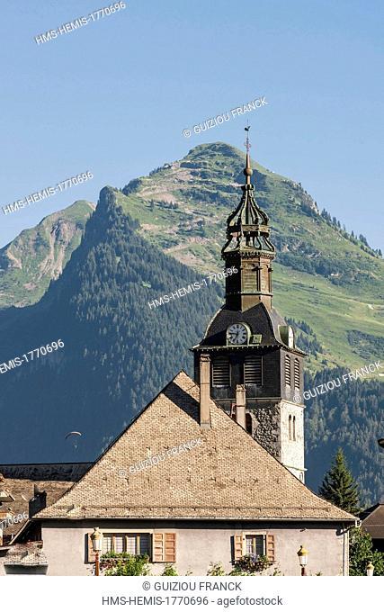 France, Haute-Savoie, Aulps valley, Montriond, is part of Les Portes du Soleil ski area, the Church of the Visitation built in 1765