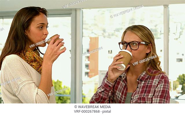 Pretty girls drinking coffee