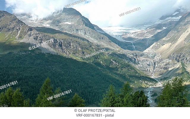 Palue Glacier seen from Alp Gruem Train Station, Switzerland